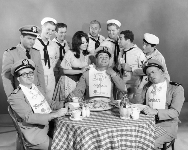 "Joe Flynn, Bob Hastings, John Wright, Edson Stroll, Carl Ballantine, Ernest Borgnine, Gary Vinson, Billy Sands, Yoshio Yoda and Tim Conway in ""McHale"