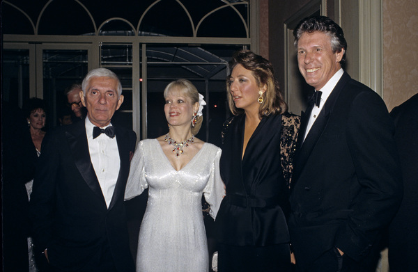 Aaron Spelling with his wife Candy, and Nolan Miller and his wife, at a Nolan Miller fashion show1988 © 1988 Gunther - Image 11502_0022