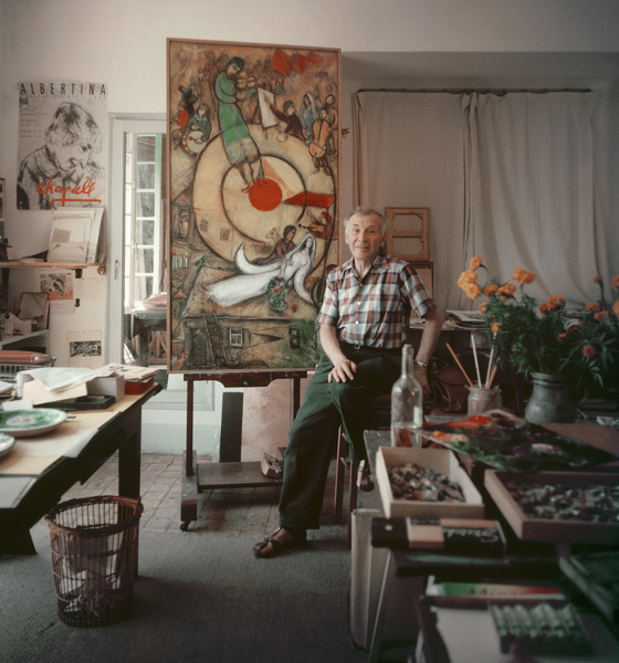 Marc Chagall in his studio in Vence, France 1955 © 2011 Mark Shaw - Image 12406_0013