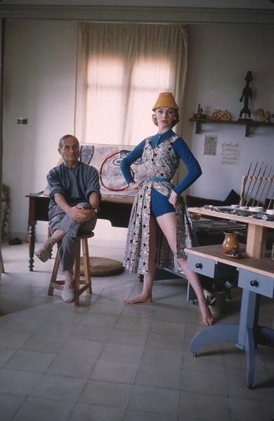 Joan Miro with British model Margaret Philips in hisBarcelona studio1955 © 2001 Mark Shaw - Image 12410_0009