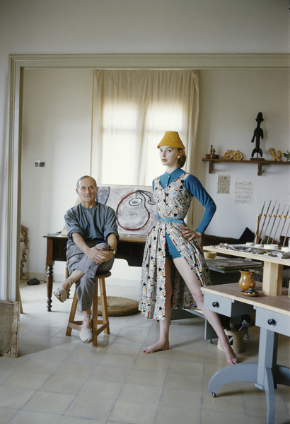 Joan Miro with British model Margaret Philips in his Barcelona studio 1955 © 2013 Mark Shaw - Image 12410_0025