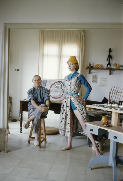 Joan Miro with British model Margaret Philips in his Barcelona studio 1955 © 2013 Mark Shaw - Image 12410_0025