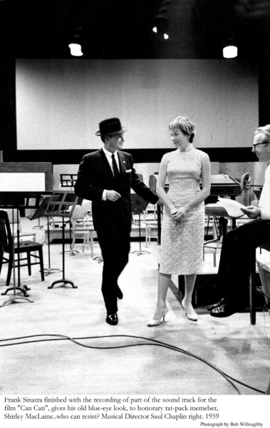 """""""Can Can""""Frank Sinatra & Shirley MacLaine after a recording session. 1959 © 1978 Bob Willoughby - Image 1260_0007"""