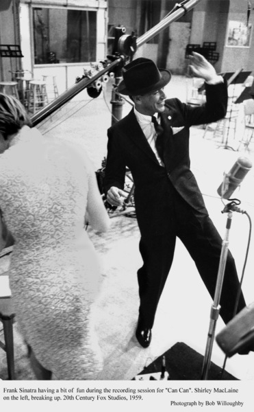 """""""Can Can""""Frank Sinatra & Shirley MacLaine during a recording session. 1959 © 1978 Bob Willoughby - Image 1260_0008"""