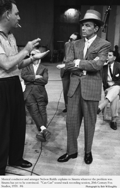 """""""Can Can""""Frank Sinatra & Nelson Riddle during a recording session.1959 © 1978 Bob Willoughby - Image 1260_0033"""