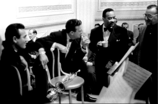 """The Benny Goodman Story,"" Universal 1955.Gene Krupa, Harry James, Teddy Wilson, and Benny Goodman. © 1978 Bob Willoughby / MPTV - Image 13326_1"