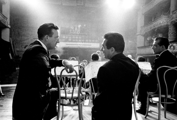"""""""The Benny Goodman Story,"""" Universal 1955.Harry James and Gene Krupa at the recreation of New York City"""