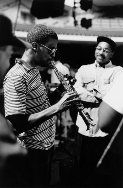 """Marcus Roberts and Wynton Marsalis (right) rehearsing for the """"Jazz Gipfel"""" concert, Stuttgart, Germany, 1992. © 1978 Bob Willoughby / MPTV - Image 13365_14"""