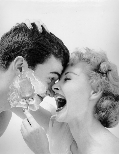 """""""Grooming Category""""Man shaving for a Mademoiselle editorial circa 1950s © 2002 Mark Shaw - Image 13477_0001"""