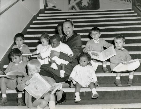 Josephine Baker At her estate in Paris with her nine adoptive children.October 28, 1957 - Image 13694_0007
