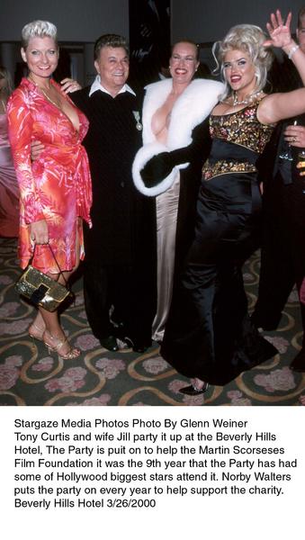 """Night of One Hundred Stars,""Tony Curtis with wife Jill, Jean Kasem,& Anna Nichole Smith. 3/26/00. © 2000 Glenn Weiner - Image 16467_0100"