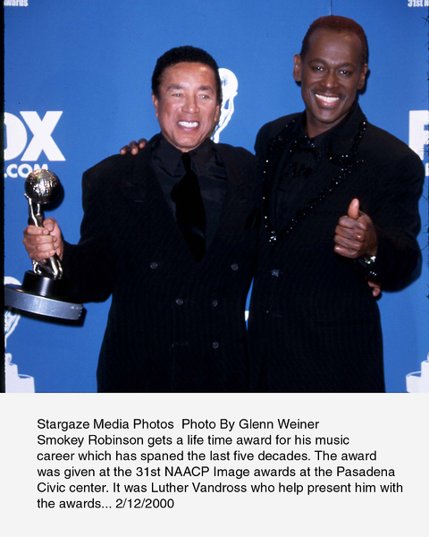 """""""NAACP Image Awards - 31st,""""Smokey Robinson and Luther Vandross.2/12/00. © 2000 Glenn Weiner - Image 16983_0111"""