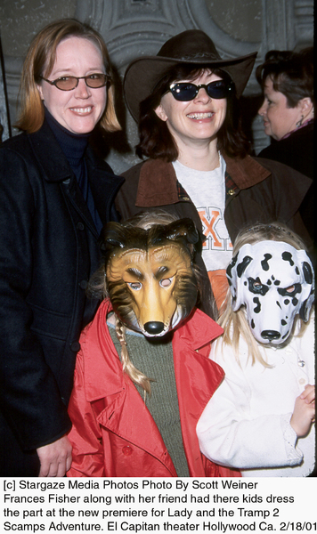 """© Stargaze Media Photos Photo By Scott WeinerFrances Fisher along with her friend and their kids attended the premiere for """"Lady and the Tramp 2: Scamp"""