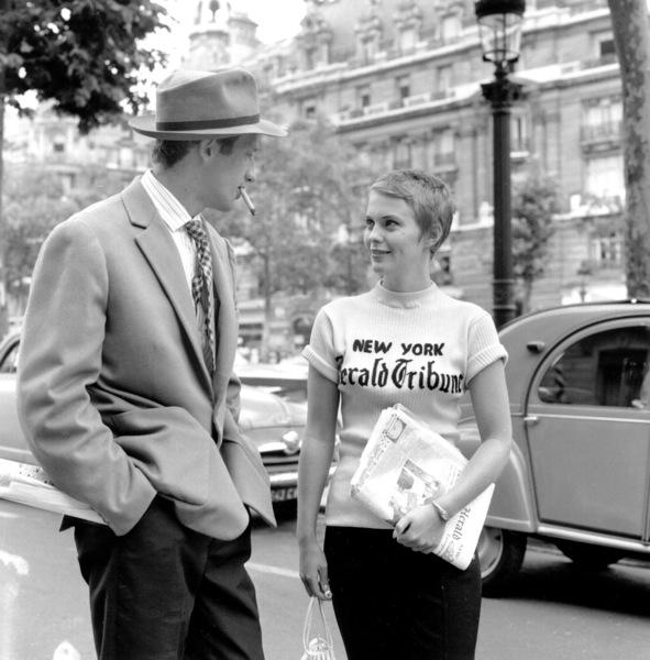 """Breathless"" (a.k.a. ""A bout de souffle"") Jean Paul Belmondo and Jean Sebergon the set, 1959. Imperia/**I.V. - Image 19595_0002"