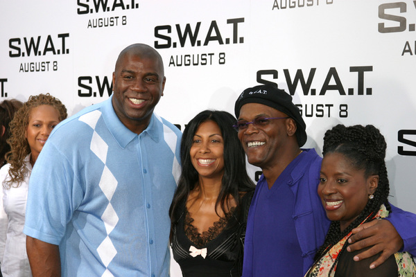 """S.W.A.T."" Premiere 7-30-03Earvin ""Majic Johnson, wife, Samuel L. Jackson, wifePhoto By Sam Kweskin - Image 21354_0034"