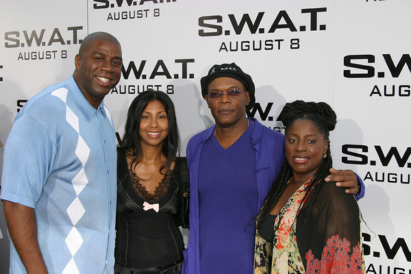 """S.W.A.T."" Premiere 7-30-03Earvin ""Majic Johnson, wife, Samuel L. Jackson, wifePhoto By Sam Kweskin - Image 21354_0053"