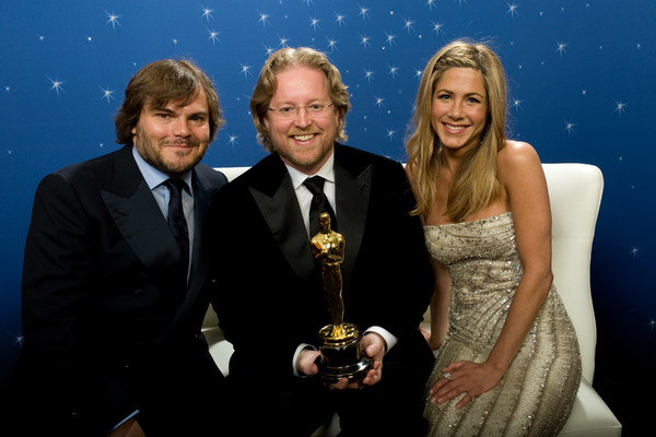 """""""The 81st Annual Academy Awards"""" (Backstage)Jack Black, Andrew Stanton, Jennifer Aniston02-22-2009Photo by Todd Wawrychuk © 2009 A.M.P.A.S. - Image 23704_0265"""