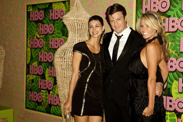 """HBO Post Emmy Party"" Morena Baccarin, Nathan Fillion8-29-2010 / The Plaza at the Pacific Desighn Center / Hollywood CA / HBO / Photo by Annabel Park - Image 23964_0289"