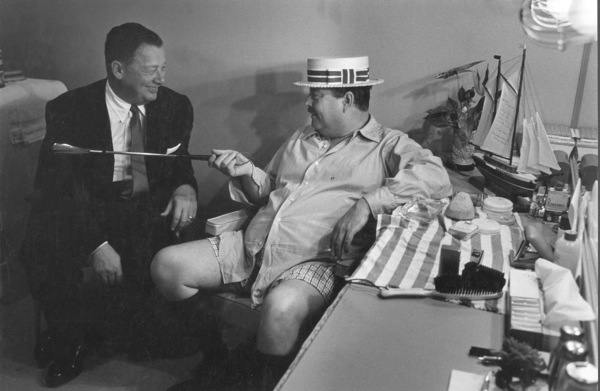 """Jackie Gleason in his dressing room during the Broadway musical """"Take Me Along"""" 1959 © 2001 Mark Shaw - Image 2397_0042"""