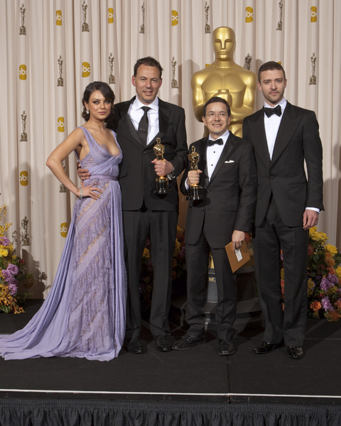 """The Academy Awards - 83rd Annual"" (Press Room) Mila Kunis, Shaun Tan, Andrew Ruhemann, Justin Timberlake2-27-2011Photo by Rick Salyer © 2011 A.M.P.A.S. - Image 24036_0264"