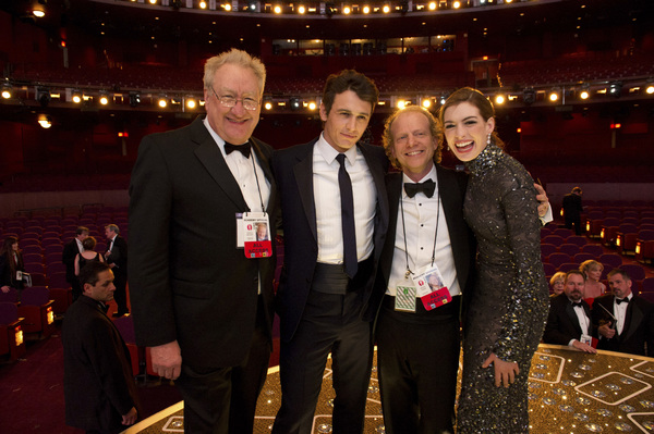 """The Academy Awards - 83rd Annual"" (Telecast) Don Mischer, James Franco, Bruce Cohen, Anne Hathaway02-27-2011 Photo by Richard Harbaugh © 2011 A.M.P.A.S. - Image 24036_0421"