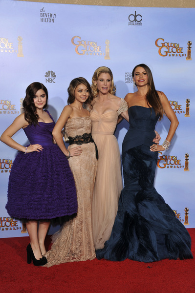 """The Golden Globe Awards - 69th Annual"" (Press Room) Ariel Winter, Sarah Hyland, Julie Bowen, Sofia Vergara1-15-2012 © 2012 Jean Cummings - Image 24150_0125"