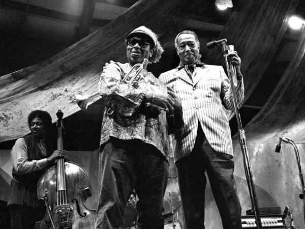 Duke Ellington, Dizzy Gillespie and Leroy Vinnegar at the Monterey Jazz Festival1970© 1978 Paul Slaughter - Image 24262_0175
