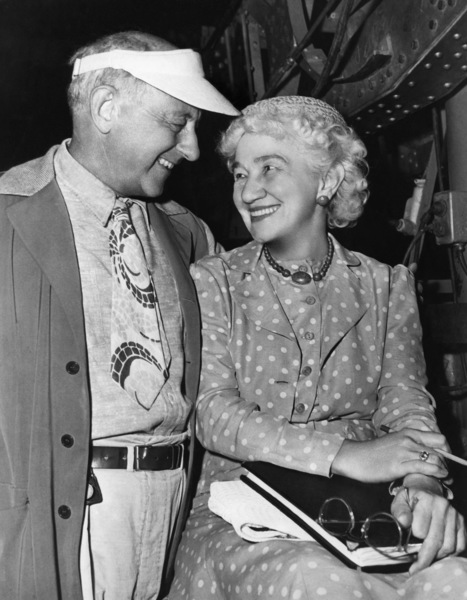 "Director Cecil B. DeMille with his editor since 1915, Anne Bauchens, on the set of ""Unconquered"" 1947 Paramount ** I.V. - Image 24287_0136"