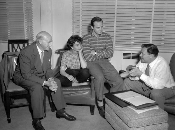 "Samuel Goldwyn, Jean Simmons, Marlon Brando and Joseph L. Mankiewicz behind the scenes of ""Guys and Dolls""1955 MGM** B.D.M. - Image 24293_0147"