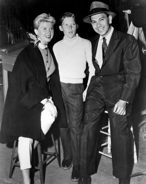 """Doris Day and Terry Melcher visit Jack Webb on the set of """"Dragnet""""1954 Warner Bros.** B.D.M. - Image 24293_0340"""