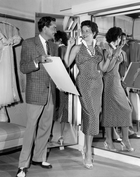 "Bill Thomas and Jane Russell discuss costume designs for ""Foxfire""1955 Universal** B.D.M. - Image 24293_0707"