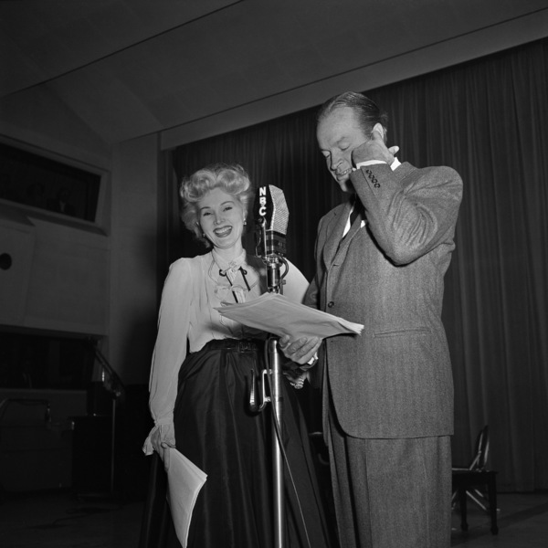 "Zsa Zsa Gabor and Bob Hope on ""The Bob Hope Show"" radio broadcastcirca early 1950sPhoto by Herb Ball** B.D.M. - Image 24293_1815"