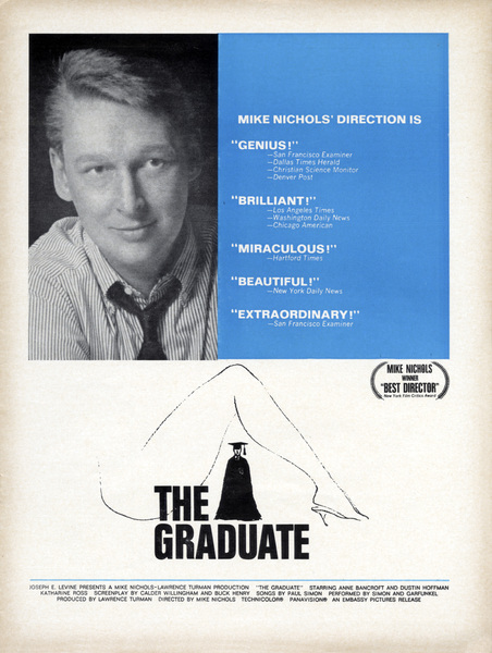 """Oscar consideration ad for Mike Nichols as Best Director for """"The Graduate""""1967 Embassy Pictures** B.D.M. - Image 24293_1886"""