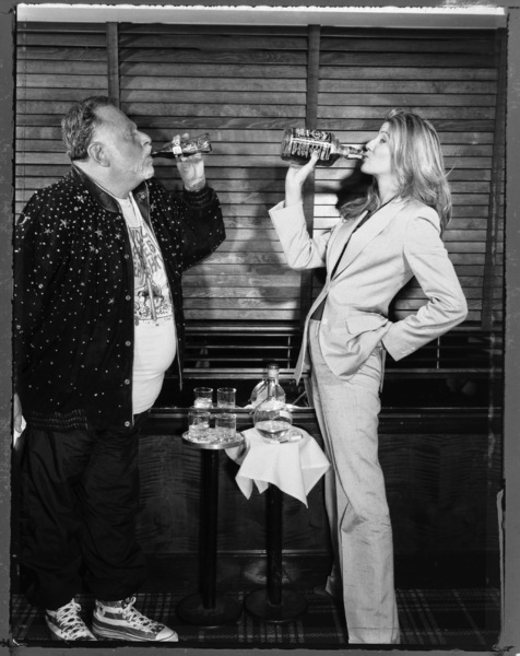 Al Goldstein and Candace Bushnell photographed at Bice Restaurant in New York City1997© 1997 Ken Shung - Image 24302_0006