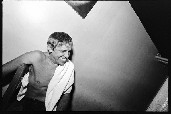 Buddy Rich photographed in the dressing room of a Long Island club named