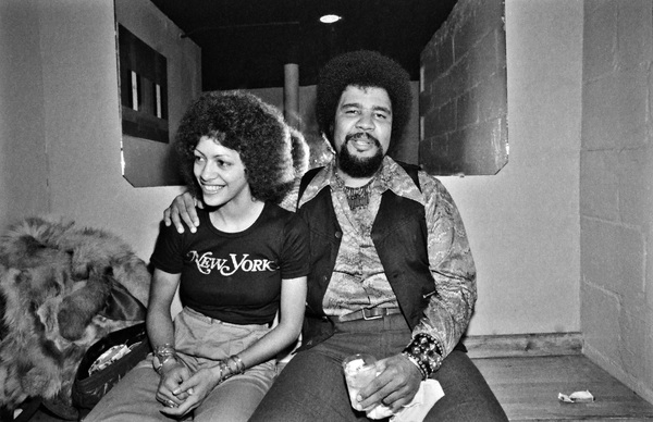 Sheila E. and George Duke photographed in the dressing room of a Long Island club named