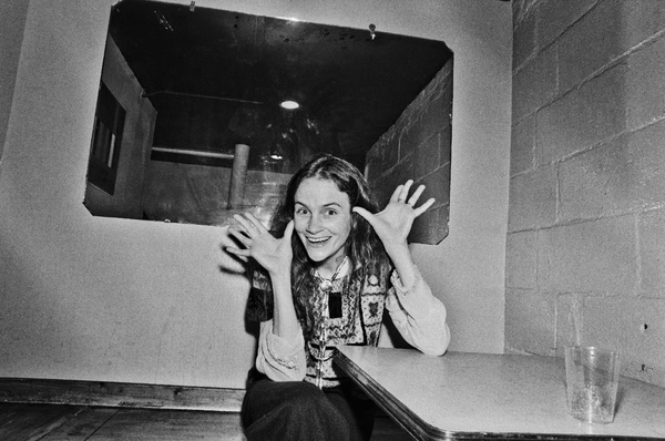 Kate Taylor photographed in the dressing room of a Long Island club named