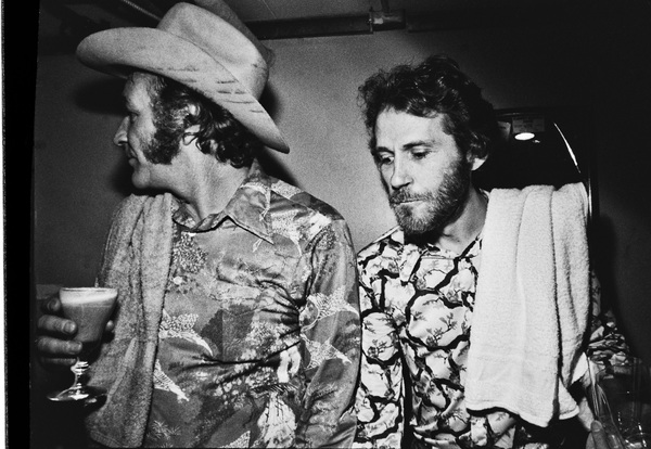 Levon Helm and Frank Carter Jr. photographed in the dressing room of a Long Island club named