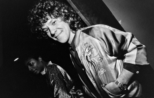 Michael Lang photographed in the dressing room of a Long Island club named