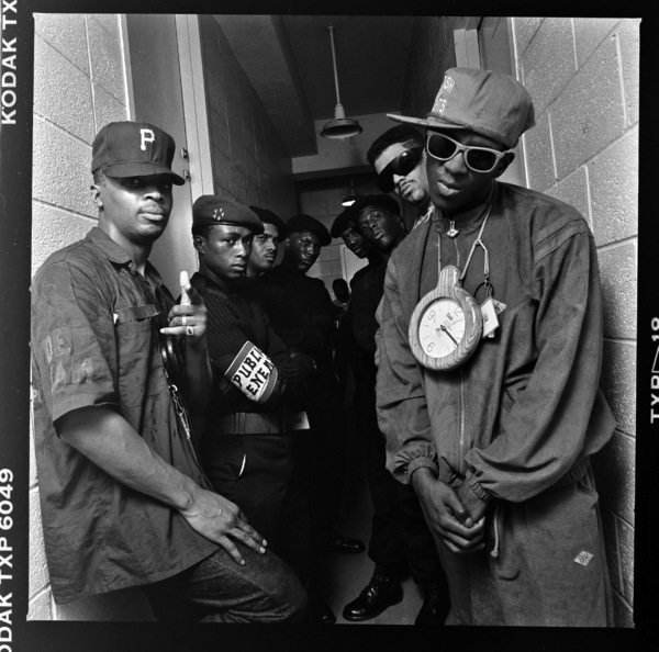 Public Enemy (Chuck D, Flavor Flav, DJ Lord) photographed at Rikkers Island Prison 1988© 1988 Ken Shung - Image 24302_0099
