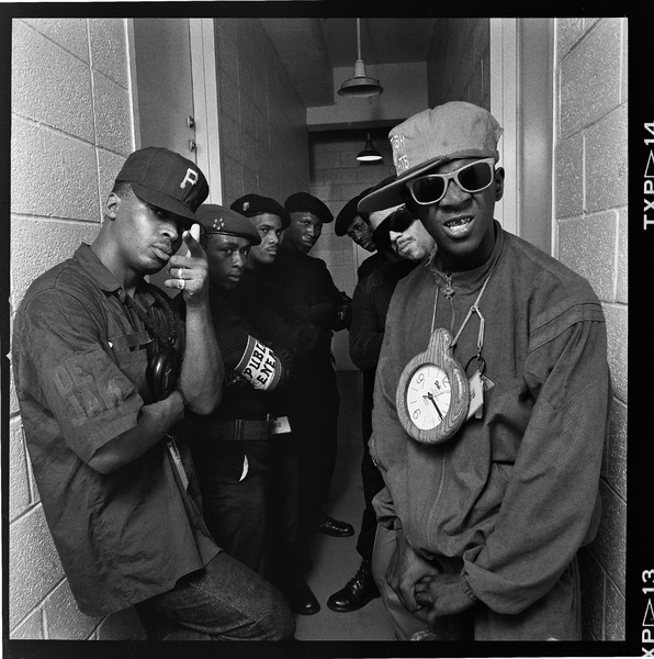 Public Enemy (Chuck D, Flavor Flav, DJ Lord) photographed at Rikkers Island Prison 1988© 1988 Ken Shung - Image 24302_0100