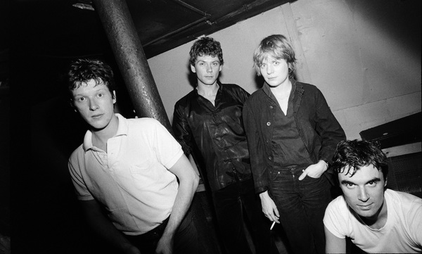 Talking Heads (Chris Frantz, Jerry Harrison, Tina Weymouth, David Byrne) photographed in the dressing room of a Long Island club named