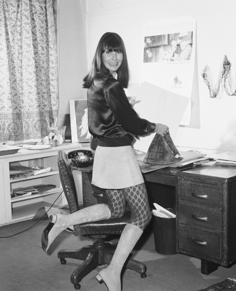 "Theadora Van Runkle in her studio working on designs for ""I Love You, Alice B. Toklas!""1968** I.V. - Image 24322_0153"