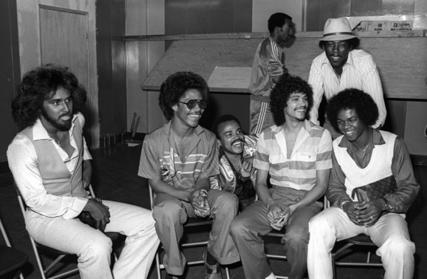"""""""Switch"""" at Freeway Records in Los Angeles, CA(Tommy DeBarge, Eddie Fluellen, Bobby DeBarge, Jody Sims, Phillip Ingram, Gregory Williams)circa 1979© 1979 Bobby Holland - Image 24331_0223"""