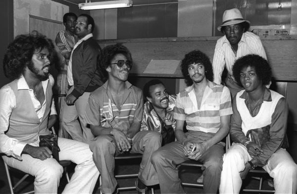 """""""Switch"""" at Freeway Records in Los Angeles, CA(Tommy DeBarge, Eddie Fluellen, Bobby DeBarge, Jody Sims, Phillip Ingram, Gregory Williams)circa 1979© 1979 Bobby Holland - Image 24331_0224"""