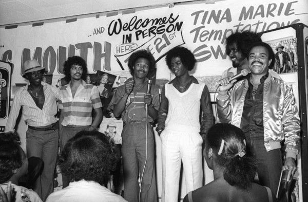"""Switch"" at Freeway Records in Los Angeles, CA (Tommy DeBarge, Eddie Fluellen, Bobby DeBarge, Jody Sims, Phillip Ingram, Gregory Williams) circa 1979 © 1979 Bobby Holland - Image 24331_0242"