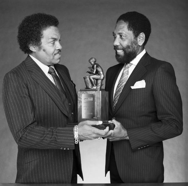"Joseph Walter ""Joe"" Jackson receives award from Sidney Miller, publisher of Black Radio Exclusive Magazinecirca 1980s © 1980 Bobby Holland - Image 24331_0276"