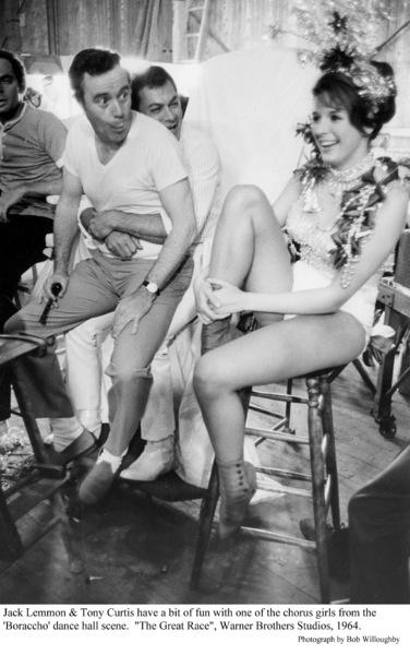 """""""Great Race, The""""Jack Lemmon  and Tony Curtis with one of the chorus girls. Photo taken in 1964 / Warner Bros. © 1978 Bob Willoughby - Image 3467_0365"""