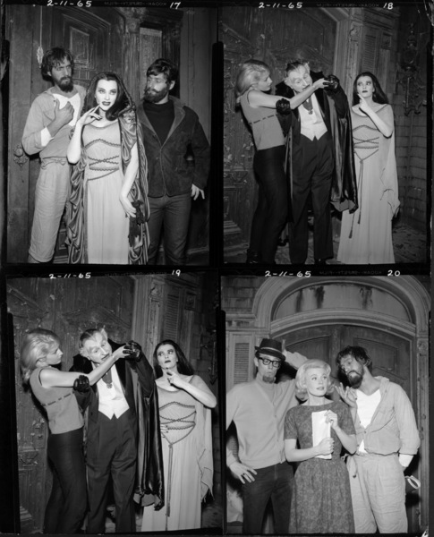 """The Munsters""(starting from top left going clockwise) Scene 1: Yvonne De Carlo / Scene 2: Al Lewis, Yvonne De Carlo / Scene 3: Al Lewis, Yvonne De Carlo / Scene 4: Pat Priestcirca 1965** Part of the Kevin Burns Collection - Image 3600_0252"