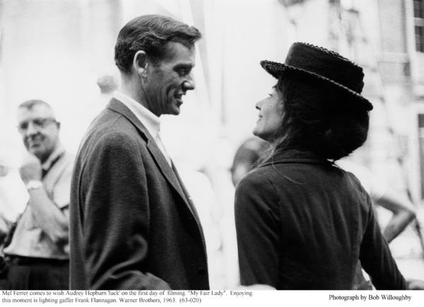 """My Fair Lady""Lighting gaffer Frank Flannagan, Mel Ferrer, Audrey Hepburn.  1963 / Warner Brothers. © 1978 Bob Willoughby - Image 3604_0835"
